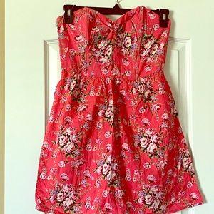 Sweetheart floral print pink dress